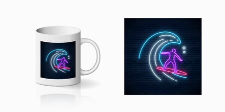 Neon summer print with surfer in ocean wave for cup design. Man on surfboard on waves symbol, design, banner in neon style on mug mockup. Vector shiny design element. Summer leisure symbol on vacation  イラスト・ベクター素材