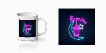 Neon ramadan islam holy month symbol for cup design. Ramadan greeting text with fanus lantern, star and crescent design, banner in neon style on mug mockup. Vector shiny design element