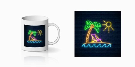 Neon happy summer print with palm, sun, chaise-longue and ocean for cup design. Shiny summertime symbol, design, banner in neon style on mug mockup. Vector illustration. Deck chair on island beach.