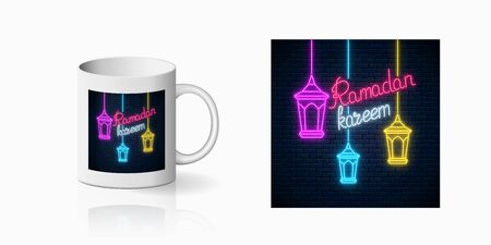 Neon ramadan islam holy month symbol for cup design. Ramadan greeting text with fanus lanterns design, banner in neon style on mug mockup. Vector shiny design element Illustration