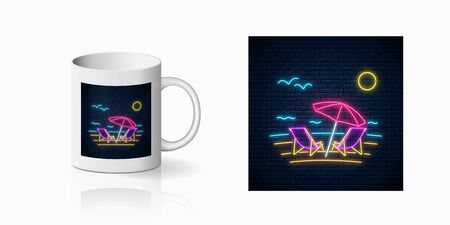 Neon happy summer print with chaise lounges, beach umbrella, ocean and gulls for cup design. Shiny summertime symbol, design, banner in neon style on mug mockup. Vector illustration