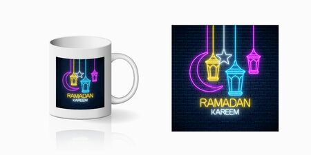 Neon ramadan islam holy month symbol for cup design. Ramadan greeting text with fanus lanterns, star and crescent design, banner in neon style on mug mockup. Vector shiny design element Illustration