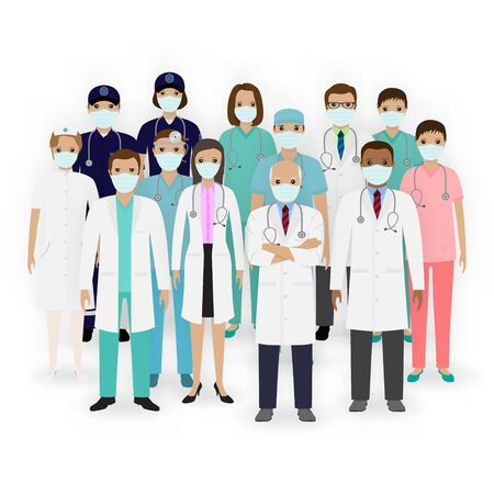 Doctors, nurses and paramedics characters with masks icons. Group of medical staff. Hospital team. Medicine banner. Flat style vector illustration. Illustration