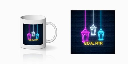 Neon ramadan islam holy month symbol for cup design. Eid al fitr greeting card with fanus lanterns design, banner in neon style on mug mockup. Vector shiny design element