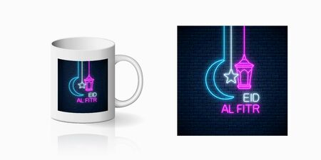 Neon ramadan islam holy month symbol for cup design. Eid al fitr greeting text with fanus lantern, star and crescent design, banner in neon style on mug mockup. Vector shiny design element
