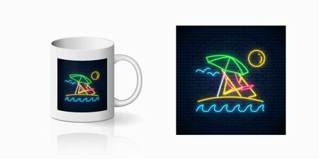 Neon summer sign with umbrella, sun, chaise-longue for cup design. Shiny summertime symbol, design, banner in neon style on mug mockup. Vector illustration. Deck chair on island beach. Illustration