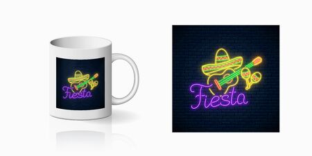 Glowing neon fiesta holiday sign for cup design. Mexican festival design with guitar, maracas and sombrero hat in neon style on mug mockup. Vector shiny design element Illustration