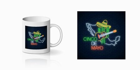 eon sinco de mayo sign with mexico map for cup design. Mexican festival design with guitar, cactus and sombrero hat in neon style on mug mockup. Vector shiny design element
