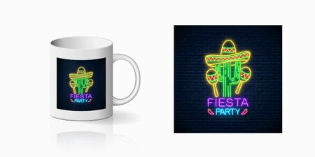 Glowing neon fiesta holiday sign for cup design. Mexican festival design with maracas, sombrero hat and cactus in neon style on mug mockup. Vector shiny design element