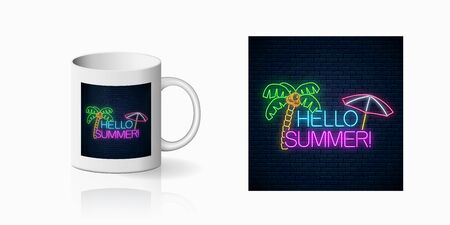 Neon happy summer print with lettering, palm tree and beach umbrella for cup design. Shiny summertime symbol, design, banner in neon style on mug mockup. Vector shiny design element