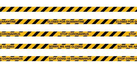 COVID-19 quarantine stripes seamless tape. Warning sign coronavirus quarantine with black stripes. Vector illustration. World pandemic alert design isolated on white background Illustration