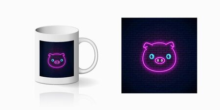 Neon sign of cute pig in kawaii style print for cup design. Cartoon happy smiling piggy design banner in neon style and mug mockup. Vector shiny design element 向量圖像
