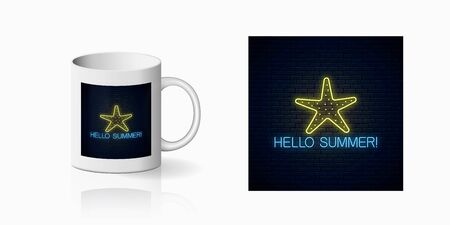 Neon summer print with sea star symbol for cup design. Summer leisure club emblem, design, banner in neon style on mug mockup. Vector shiny design element