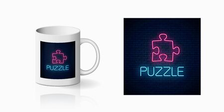 Glowing neon icon of logical concept print for cup design. Thinking game symbol on mug mockup. Vector illustration Illustration