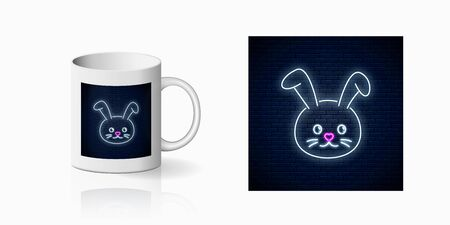 Neon sign of cute rabbit in kawaii style print for cup design. Cartoon happy smiling bunny design, banner in neon style and mug mockup. Vector shiny design element
