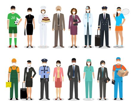 Group of people with different occupation wearing protective edical mask for prevent virus covid-19. Employment and labor day banner. Employee and workers characters together. Vector illustration. Illustration