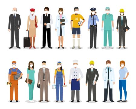 Employee and workers characters together wearing protective edical mask for prevent virus covid-19. Employment and labor day banner. Group of people with different occupation. Vector illustration.