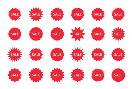 Set of sale star burst price stickers. Vector discount stamps, promo boxes. Res round splash badges. Tag product labels. Set of starburst shapes isolated on white background. Flat illustration. Illustration