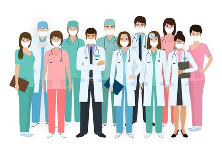 Group of doctors and nurses with medical protective masks standing together in different poses. Medical people. Hospital staff. Flat style vector illustration. Illustration