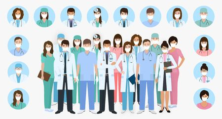 Group of doctors and nurses characters in masks in different poses with vector profile avatars. Medical people design. Hospital staff. Flat style vector illustration.