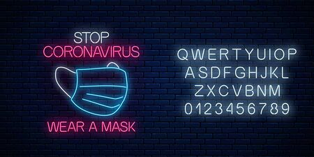 Stop coronavirus neon sign with medical mask. COVID-19 virus caution symbol in neon style with alphabet. Coronavirus disease prevention sign. Vector illustration. Shiny world pandemic alert design