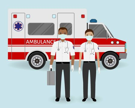 Hospital staff concept. Paramedics ambulance team with medical protection masks on ambulance car background. Male and female emergency medical serviice employee. Flat style vector illustration. Illustration
