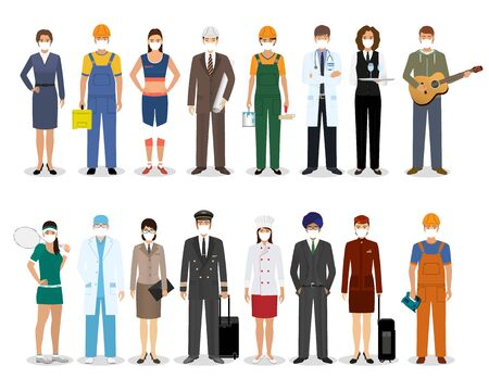 Group of people with different occupation wearing protection medical face mask to protect and prevent virus. Employment and labor day banner. Employee and workers characters. Vector illustration. Illustration