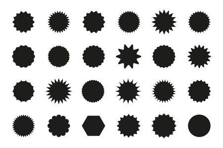 Set of star burst stickers. Vector starburst price tag icon. Set badge shape. Isolated sale promo pricetags. Black badges on white background. Round sun splash in simple design. Wave vignette. Illustration