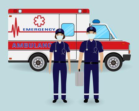 Hospital staff concept. Paramedics ambulance team in medical protection masks with ambulance car. Male and female emergency medical serviice employee. Flat style vector illustration. Vektorgrafik