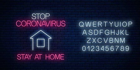 Stop coronavirus neon sign with stay at home icon and alphabet. COVID-19 virus caution symbol in neon style. Coronavirus disease prevention sign. Vector illustration. Shiny world pandemic alert design