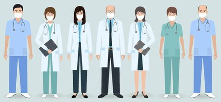 Hospital staff. Set of seven men and women doctors and nurses with medical protective masks. Medical people. Flat style vector illustration. Illustration
