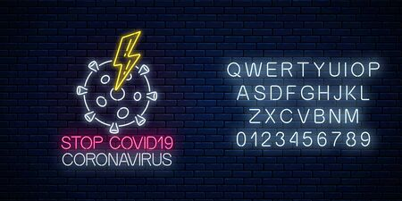 Stop COVID-19 virus neon sign with coronavirus and lightning symbol in neon style. Coronavirus outbreak stop icon with alphabet. Vector illustration. Shiny world pandemic alert design Illustration