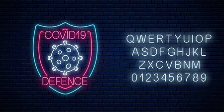 Coronavirus defence neon sign with alphabet. COVID-19 virus caution symbol in neon style. 2019-NCOV outbreak stop icon. Vector illustration. Shiny world pandemic alert design on brick wall background