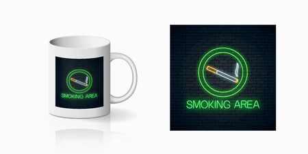 Glowing neon sign of smoking place for cup design. Nicotine and smoke cigarettes site neon design, banner in neon style on mug mockup. Illustration