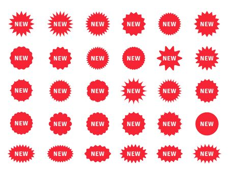 Set of new arrival price stickers. Star burst promo boxes. Vector discount stamps. Red tag product labels. Circle, round splash badges. Set of sunburst shapes. Flat illustration. Illustration