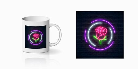 Glowing rose neon sign of flower shop in round frames for cup design. Design of floral store symbol, banner in neon style on mug mockup. Illustration