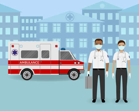 Couple of ambulance workers with masks standing together on a ambulance car and clinic background. Medical team. Medicine web banner. Hospital staff. Flat style vector illustration.