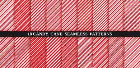Candy cane red stripe seamless pattern. Vector. Christmas candycane background. Red wrapping paper. Set of holiday textures. Peppermint caramel diagonal print. Classic winter illustration. Illustration