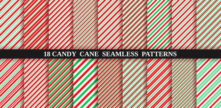 Candy cane stripe seamless pattern. Vector. Christmas candycane background. Red and green wrapping paper. Set of holiday textures. Peppermint caramel diagonal print. Classic winter illustration. Illustration