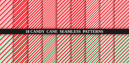 Candy cane stripe seamless pattern. Red and green wrapping paper. Vector. Christmas candycane background. Set of holiday textures. Peppermint caramel diagonal print. Classic winter illustration. Illustration