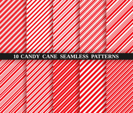 Candy cane red stripe seamless pattern. Vector. Christmas candycane background. Red wrapping paper. Set of ten holiday textures. Peppermint caramel diagonal print. Classic winter illustration.
