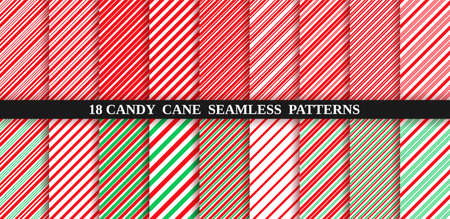 Candy cane stripe seamless pattern. Vector. Christmas candycane background red and green. Wrapping paper. Set of holiday textures. Peppermint caramel diagonal print. Classic winter illustration. Illustration