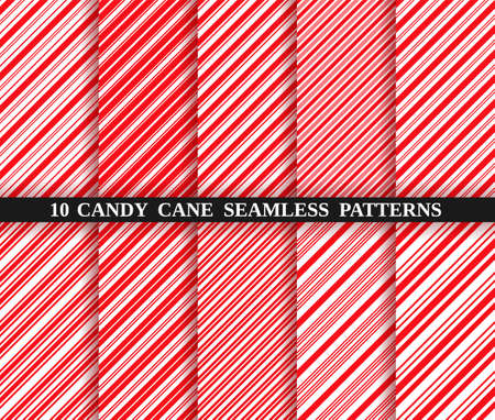Set of ten christmas textures. Candy cane stripe seamless pattern. Vector. Holiday candycane background. Red wrapping paper. Peppermint caramel diagonal print. Classic winter illustration. Illustration