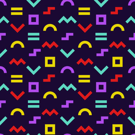Memphis style seamless pattern. Colorful geometric shapes background with dark backdrop. Vector illustration. Wrapping paper texture. Abstract cover design. Pattern template in swatches panel. Vectores