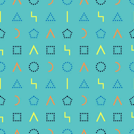 Memphis style seamless pattern. Wrapping paper texture. Geometric dashed and solid line shapes with turquoise backdrop. Vector. Abstract cover design. Pattern template in swatches panel.