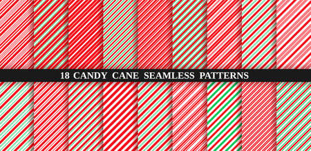 Candy cane stripe seamless pattern. Vector. Christmas candycane background. Set of red and green holiday textures. Wrapping paper. Peppermint caramel diagonal print. Classic winter illustration. Vectores