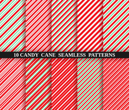 Candy cane stripe seamless pattern. Vector. Christmas candycane background. Red and green wrapping paper. Set of ten holiday textures. Peppermint caramel diagonal print. Classic winter illustration. Vectores