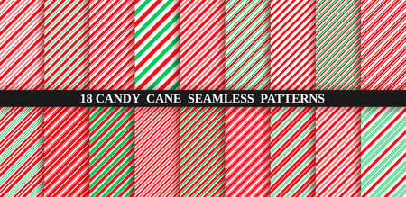 Set of christmas seamless pattern. Candy cane stripe texture. Vector. Holiday candycane background. Red green wrapping paper. Peppermint caramel diagonal print. Classic winter illustration.