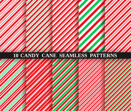 Candy cane stripe seamless pattern. Red and green wrapping paper. Vector. Christmas candycane background. Set of ten holiday textures. Peppermint caramel diagonal print. Classic winter illustration.