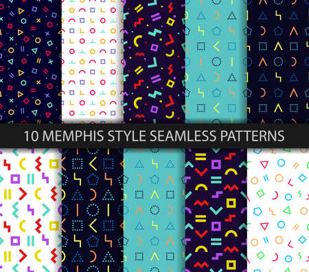 Memphis style seamless pattern. Vector. Colorful geometric background. Set of ten geometric textures. Wrapping paper design in 80-90s style. Minimal abstract cover. Pattern templates in swatches panel